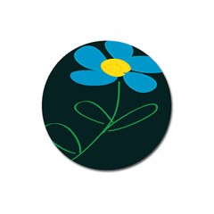 Whimsical Blue Flower Green Sexy Magnet 3  (round)