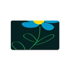 Whimsical Blue Flower Green Sexy Magnet (name Card)