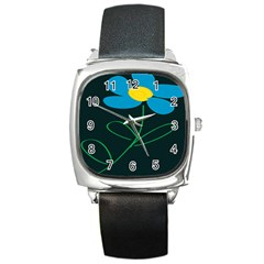 Whimsical Blue Flower Green Sexy Square Metal Watch