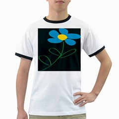 Whimsical Blue Flower Green Sexy Ringer T Shirts