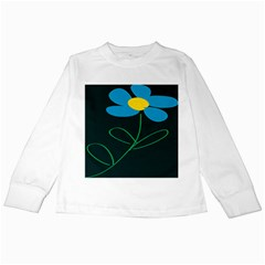 Whimsical Blue Flower Green Sexy Kids Long Sleeve T Shirts