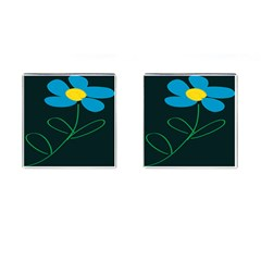Whimsical Blue Flower Green Sexy Cufflinks (square)