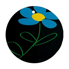 Whimsical Blue Flower Green Sexy Round Ornament (two Sides)