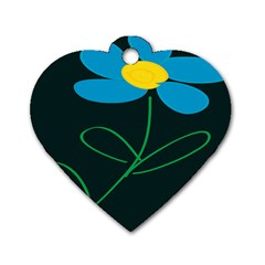 Whimsical Blue Flower Green Sexy Dog Tag Heart (two Sides)