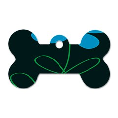 Whimsical Blue Flower Green Sexy Dog Tag Bone (one Side)