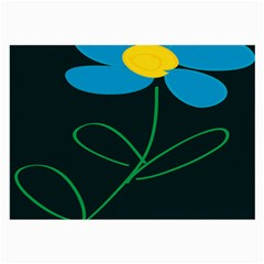 Whimsical Blue Flower Green Sexy Large Glasses Cloth (2 Side)