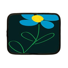 Whimsical Blue Flower Green Sexy Netbook Case (small)
