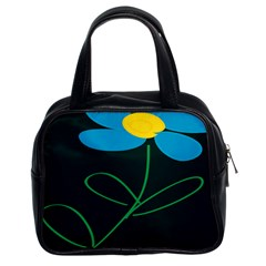 Whimsical Blue Flower Green Sexy Classic Handbags (2 Sides)