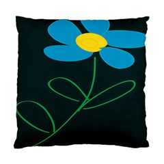 Whimsical Blue Flower Green Sexy Standard Cushion Case (two Sides)
