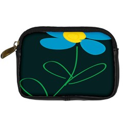 Whimsical Blue Flower Green Sexy Digital Camera Cases