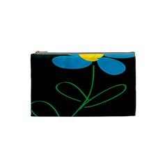Whimsical Blue Flower Green Sexy Cosmetic Bag (small)