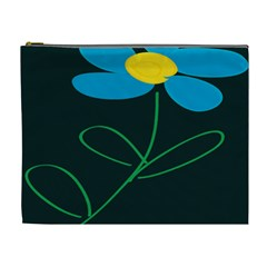 Whimsical Blue Flower Green Sexy Cosmetic Bag (xl)