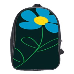 Whimsical Blue Flower Green Sexy School Bag (large)