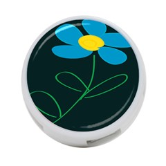 Whimsical Blue Flower Green Sexy 4 Port Usb Hub (two Sides)