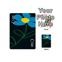 Whimsical Blue Flower Green Sexy Playing Cards 54 (mini)