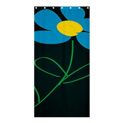Whimsical Blue Flower Green Sexy Shower Curtain 36  X 72  (stall)