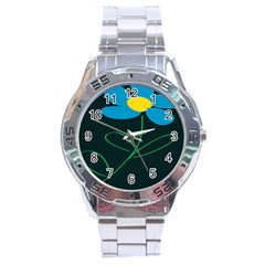 Whimsical Blue Flower Green Sexy Stainless Steel Analogue Watch
