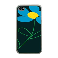 Whimsical Blue Flower Green Sexy Apple Iphone 4 Case (clear)