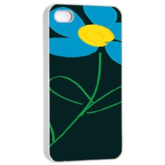 Whimsical Blue Flower Green Sexy Apple Iphone 4/4s Seamless Case (white)
