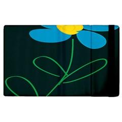 Whimsical Blue Flower Green Sexy Apple Ipad 2 Flip Case
