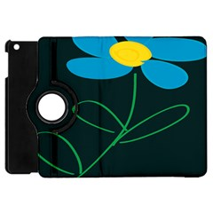 Whimsical Blue Flower Green Sexy Apple Ipad Mini Flip 360 Case