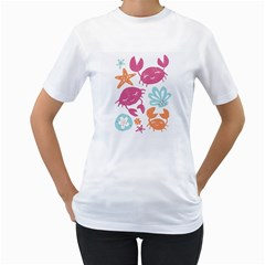 Animals Sea Flower Tropical Crab Women s T Shirt (white) (two Sided)