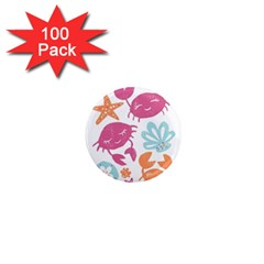 Animals Sea Flower Tropical Crab 1  Mini Magnets (100 Pack)