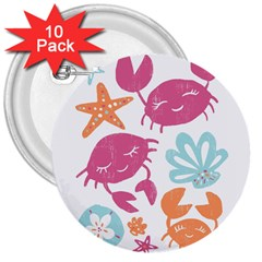 Animals Sea Flower Tropical Crab 3  Buttons (10 Pack)