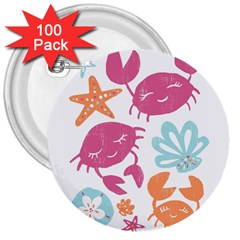 Animals Sea Flower Tropical Crab 3  Buttons (100 Pack)