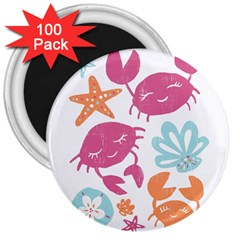 Animals Sea Flower Tropical Crab 3  Magnets (100 Pack)