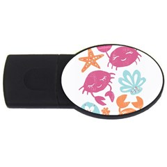 Animals Sea Flower Tropical Crab Usb Flash Drive Oval (2 Gb)