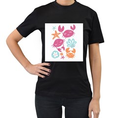 Animals Sea Flower Tropical Crab Women s T Shirt (black) (two Sided)