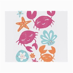 Animals Sea Flower Tropical Crab Small Glasses Cloth