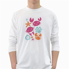 Animals Sea Flower Tropical Crab White Long Sleeve T Shirts