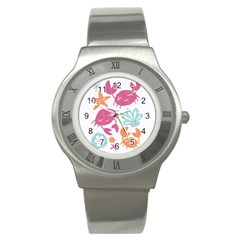 Animals Sea Flower Tropical Crab Stainless Steel Watch