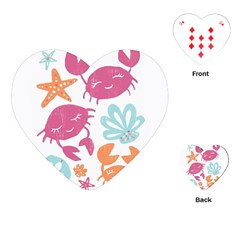 Animals Sea Flower Tropical Crab Playing Cards (heart)
