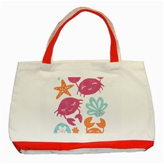 Animals Sea Flower Tropical Crab Classic Tote Bag (red)