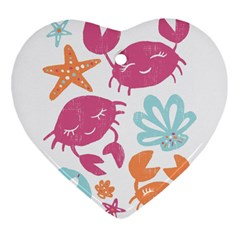 Animals Sea Flower Tropical Crab Heart Ornament (two Sides)