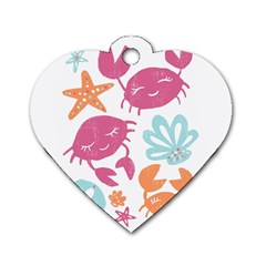 Animals Sea Flower Tropical Crab Dog Tag Heart (one Side)