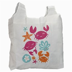 Animals Sea Flower Tropical Crab Recycle Bag (one Side)
