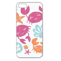 Animals Sea Flower Tropical Crab Apple Seamless Iphone 5 Case (clear)
