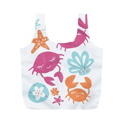 Animals Sea Flower Tropical Crab Full Print Recycle Bags (m)