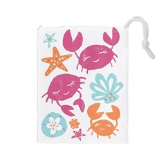 Animals Sea Flower Tropical Crab Drawstring Pouches (large)