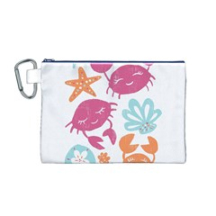 Animals Sea Flower Tropical Crab Canvas Cosmetic Bag (m)