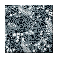 Abstract Floral Pattern Grey Tile Coasters