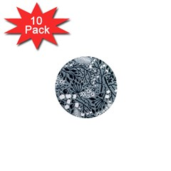 Abstract Floral Pattern Grey 1  Mini Magnet (10 Pack)