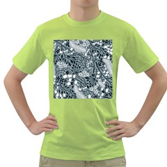 Abstract Floral Pattern Grey Green T Shirt