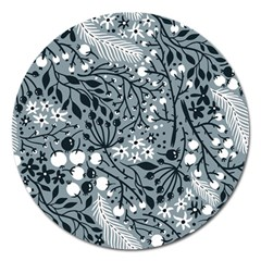 Abstract Floral Pattern Grey Magnet 5  (round)
