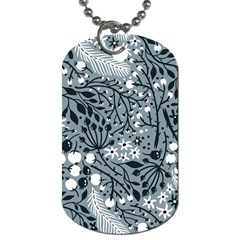 Abstract Floral Pattern Grey Dog Tag (two Sides)