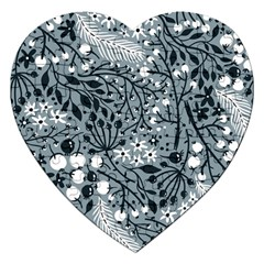 Abstract Floral Pattern Grey Jigsaw Puzzle (heart)